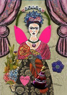 Frida Kahlo Paper Doll Collage Mexico Folk Art Latin by MyArtPlace, $12.00
