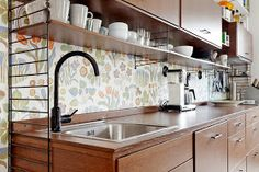 under cabinet shelving kitchen appliance packages stainless steel 27 best shelves images storage small alluring ikea remodel design ideas attractive long line shelf cabinets with natural wooden component adorned floral wallpaper backdrop