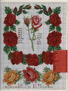 GRATIS Cross Stitch: Roses realistici
