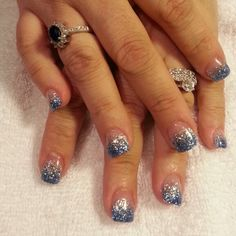 Blue and silver glitter gel nails