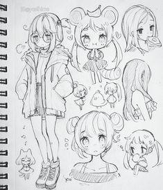 Anime Drawings Sketches, Dark Art Drawings, Anime Sketch, Kawaii Drawings, Cute Drawings, Cute Anime Character, Character Art, Cute Art Styles, Kawaii Art