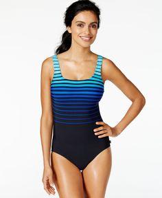 0c9665b4a7acd Reebok Ombre-Stripe One-Piece Swimsuit & Reviews - Swimwear - Women - Macy's