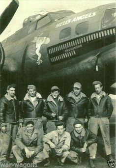 Hell's Angels  B - 17 Flying Fortress and Crew