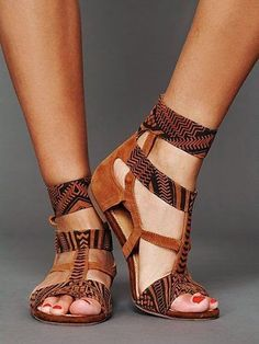 Ankle Strap Tribal Sandals. #taste
