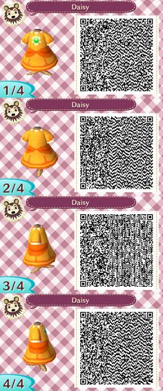 Animal Crossing: NL QR Codes [Princess Daisy Outfit]