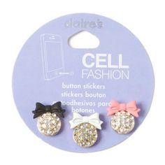 Bling and Bow Cell Phone Button Stickers Set of 3