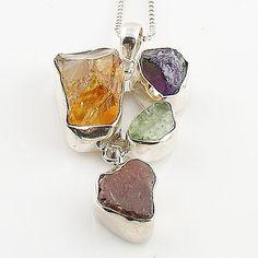 Citrine, Amethyst, Aquamarine & Garnet Rough Multi-Stone Sterling Silver Pendant