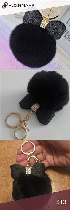 Black Pom Pom Fur Keychain Charm Faux fur purse charm or keychain. NWOT Accessories Key & Card Holders