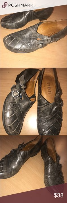 """Antiqued grey European Fidji casual comfy slip on Marked size 37 1/2, antiques/ distressed dark gray slip ons. 1.5"""" heel. Look like they've been worn once, in excellent condition. Made in Portugal. Leather. Fidji Shoes"""
