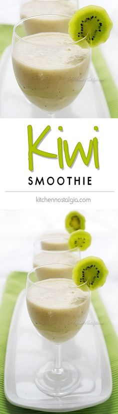 Kiwi Smoothie - healthy smoothie with an exotic tropical flair packed with vitamin C Kiwi Smoothie, Smoothie Drinks, Fruit Smoothies, Healthy Smoothies, Smoothie Recipes, Smoothie King, Healthy Juices, Healthy Drinks, Healthy Food