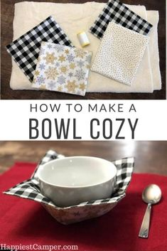 No more burnt fingers or bowls too hot to touch with this bowl cozy. I use my microwave bowl cozy daily. This sewing tutorial shows you how to make a microwave bowl cozy. Customize your bowl cozy with…More Small Sewing Projects, Sewing Projects For Beginners, Sewing Hacks, Sewing Tutorials, Sewing Tips, Christmas Sewing Projects, Sewing Blogs, Dress Tutorials, Christmas Fabric
