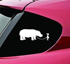 Amazon.com: Girl Walking a Hippopotamus Hippo Vinyl Decal Sticker: Automotive