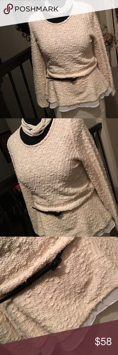 INC Cream and sugar faux layered top! Pullover, dress it up or down. Round neckline, long sleeves, elasticized peplum waist, its perfect! INC International Concepts Tops Blouses