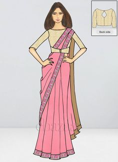 Bollywood Vogue Custom Made Pink Embroidered Saree Dress Design Sketches, Fashion Design Sketchbook, Fashion Design Drawings, Fashion Drawing Dresses, Fashion Illustration Dresses, Croquis Fashion, Fashion Model Sketch, Party Wear Sarees Online, Latest Indian Saree