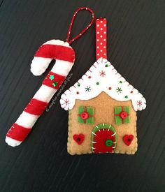 Gingerbread house and Candy cane. Set of two felt ornaments. Christmas… Gingerbread house and Candy cane. Set of two felt ornaments. Felt Christmas Decorations, Christmas Ornaments To Make, Christmas Sewing, Noel Christmas, Felt Ornaments, Christmas Projects, Felt Crafts, Handmade Christmas, Holiday Crafts