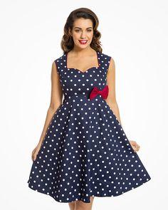 b129dfe360  Leda  Adorable 1950s Style Sweetheart Swing Dress in Navy Polka Cotton