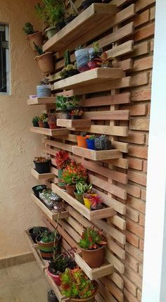 DIY Garden Decorating Ideas on a Budget - Wooden Planter Boxes : wall planter boxes Balcony Planters, Garden Planter Boxes, Planter Ideas, Garden Plants, Vertical Garden Design, Vertical Gardens, House Plants Decor, Plant Decor, Diy Wooden Planters