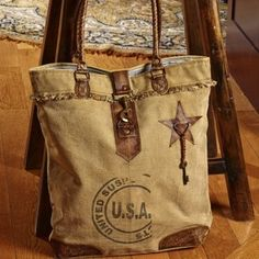 USA Stamped Canvas Tote Bag