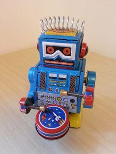 Tin Toy Vintage Retro Toy Robot Metal 1980s Blue
