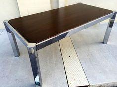Milo Baughman Mid Century Wood & Chrome DIA Dining Table #MidCenturyModern #milobaughman