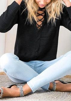 Black Lace-Up Classic Sweater