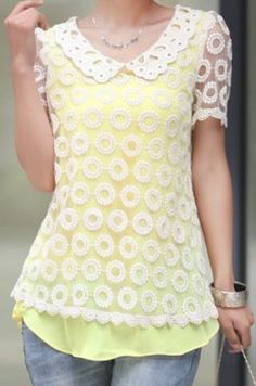 Yellow+Chiffon+Tank+Top+with+Crochet+Dot+Lace+Layer+Blouse+US$36.48