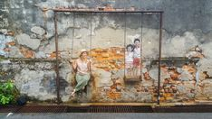 Penang street art: kids on swing, george town, malaysia - Artists For Kids, Local Artists, Art Sketches, Art Drawings, George Town Penang, Malaysia Truly Asia, Street Art Utopia, Geometric Poster, Daily Pictures