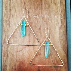 Oh yes! Gold Pyramid earrings with Aqua Aura Quarts.