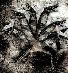 Teju Jagua | É conhecido como deus das cavernas, grutas e lagos na mitologia guarani. Ele tem um grande corpo de lagarto e sete cabeças de cachorro. Arrasta-se como um lagarto e come frutas e mel.