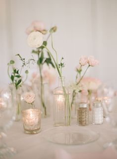 Simple and Delicate Blush and Ivory Bud Vase Centerpieces | Elizabeth Messina, Historic Cedarwood | Snippet Ink