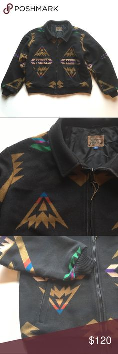Vintage PENDLETON Jacket Excellent condition. RARE print. Heavy duty with fully intact lining. No holes or stains. Spots on back are tiny spots where weave came out.  Is not a hole. These are selling on EBay for $180-$300. I'm shutting down shop in a month for my winter gig...so priced to sell! One inside stash pocket. Chest is 25. Length is 27. Pendleton Jackets & Coats