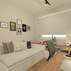 [New] The 10 Best Home Decor (with Pictures) – Quarto jovem e moderno.O branco c… – Home Office Design Layout Home Office Space, Home Office Design, Home Office Decor, House Design, Home Decor, Office Ideas, Guest Bedroom Office, Small Room Bedroom, Bedroom Decor
