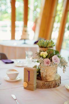 Birch centerpieces atop wooden slices and burlap numbers - love! #rustic #weddingideas {@phrenephoto}