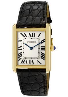 Cartier Watch Women's Tank Solo Pale Silver Dial Black | FREE Shipping