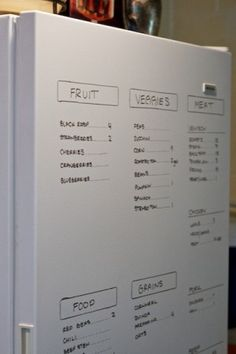 for an xtra freezer in basement or garage....use whiteboard marker to make list of items (w/dates?) on front