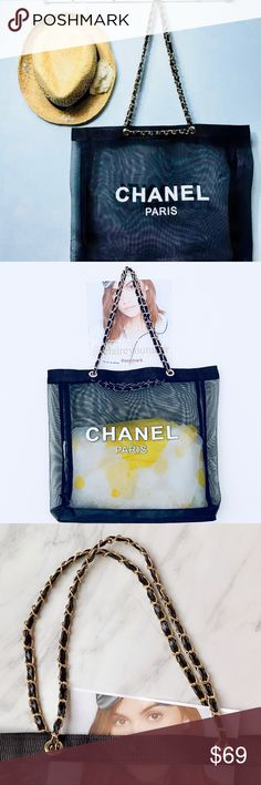 """Authentic Chanel VIP Gift Mesh Tote A classic tote bag to take to your local coffee shop for some computer work or to the beach for vacation. This bag features mesh in black. Accented with white Chanel logo on both sides. Magnetic snap closure at top. This is a Chanel Beauty VIP promotional item that is not available for retail. An ideal gift for yourself and loved ones. VIP gift. Condition: NWT. PRICE IS FIRM. NO TRADE. Measurements: W 18""""*H 14""""* D 4"""" Strap: 11"""" CHANEL Other"""