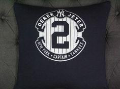 Collectible Derek Jeter TShirt pillow 18 X 18. by ThePastureRoad