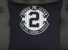 Collectible Derek Jeter TShirt pillow 18 X 18. by ThePastureRoad