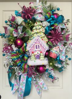 Premium XL Candy Land Christmas Wreath by WilliamsFloral on Etsy https://www.etsy.com/listing/200344736/premium-xl-candy-land-christmas-wreath