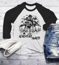 34c4d2edd Men's Hipster T Shirt Yeti Shirts Bigfoot TShirt Adventure Awaits Camping  Shirt Tent Camper Tee 3/4 Sleeve Raglan