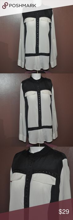 Black & White Studded Button Down Top This shirt is awesome! No Flaws! // tags: buttons studs stud metal goth gothic punk rock rebel quality sheer contrast bold statement style fashion long sleeves sleeve spring summer rebellious differentwomens women unique incredible amazing neat rad witchy witch wow designs design trim edgy middle up shoulders straps strap long tops shirts shirt pockets front pocket line festival concert light dark cool back Tops Button Down Shirts