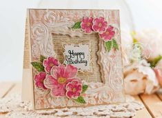 Birthday Card Making Ideas by Becca Feeken using Spellbinders Decorative Applause Embossing Folder and Labels 42 Decorative Elements - www.amazingpapergrace.com
