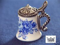 STEIN THIMBLE -PORCELAIN W/PWTR LID- BLUE ONION PATTERN