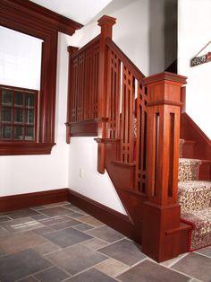 Craftsman Stair Railings | Mission Style Stairs, Staircase, Stairway,  Baluster, Newel .