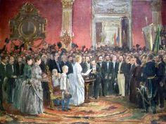 Imagem representando o momento da assinatura da Lei Áurea.