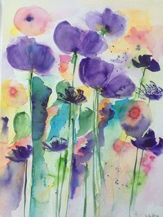 Original watercolor x inches x 40 cm) abstract painting art flowers painting flowers meadow flowers Watercolor Paintings For Beginners, Watercolor Projects, Watercolor Cards, Watercolor Flowers, Watercolor Poppies, Painting Flowers, Art Sculpture, Alcohol Ink Art, Abstract Flowers