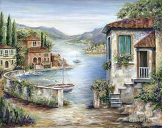 Tuscany Painting - Tuscan Villas By The Lake by Marilyn Dunlap Belle Image Nature, Pintura Exterior, Lake Painting, Painting Art, Lake Art, Photo Vintage, Tropical Art, Jolie Photo, Tuscany