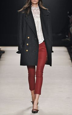 Isabel Marant FW 2012...Another look at the cropped pants...white lace top here is good