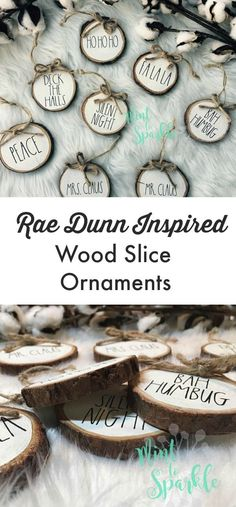 Rae Dunn Inspired Farmhouse Style Wood Slice Ornaments | These are adorable and would be so cute on my rustic Christmas tree #christmas #christmasdecor #ChristmasTree #christmasgifts #christmasornaments #raedunn #inspired #wood #farmhouse #rusticdecor #farmhousedecor #etsy #etsyfinds #affiliatelink