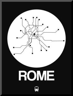 Rome White Subway Map Kunst op hout